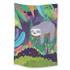 Sloth In Nature Large Tapestry by Mjdaluz