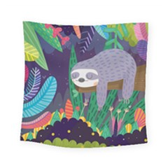 Sloth In Nature Square Tapestry (small) by Mjdaluz