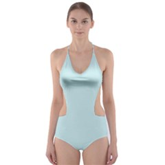 Pastel Color   Light Cyanish Gray Cut Out One Piece Swimsuit by tarastyle