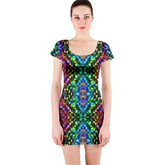 Glittering Kaleidoscope Mosaic Pattern Short Sleeve Bodycon Dress by Costasonlineshop