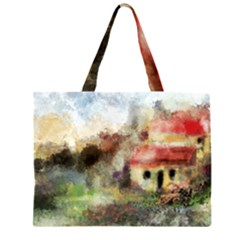 Old Spanish Village Zipper Large Tote Bag by digitaldivadesigns