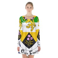 County Offaly Coat Of Arms  Long Sleeve Velvet V-neck Dress by abbeyz71