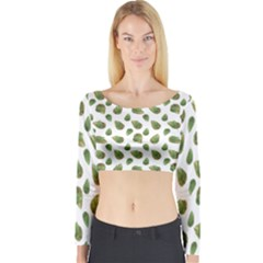 Leaves Motif Nature Pattern Long Sleeve Crop Top by dflcprintsclothing