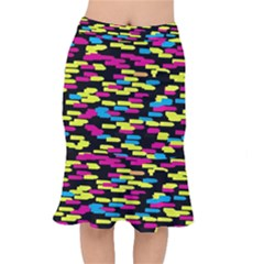 Colorful Strokes On A Black Background                 Short Mermaid Skirt