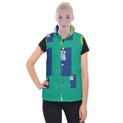 City Of Dublin Flag Women s Button Up Puffer Vest by abbeyz71