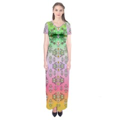 Summer Bloom In Festive Mood Short Sleeve Maxi Dress by pepitasart