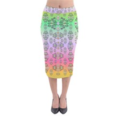 Summer Bloom In Festive Mood Velvet Midi Pencil Skirt by pepitasart