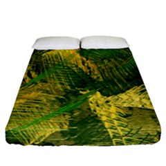 Green And Gold Abstract Fitted Sheet (queen Size) by linceazul