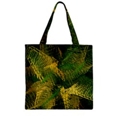 Green And Gold Abstract Zipper Grocery Tote Bag by linceazul
