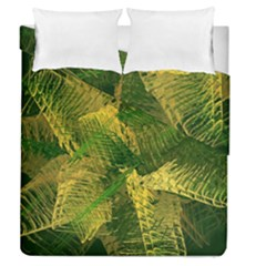 Green And Gold Abstract Duvet Cover Double Side (queen Size) by linceazul