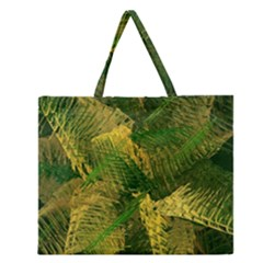 Green And Gold Abstract Zipper Large Tote Bag by linceazul