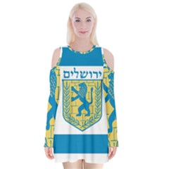 Flag Of Jerusalem Velvet Long Sleeve Shoulder Cutout Dress by abbeyz71