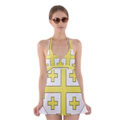 The Arms Of The Kingdom Of Jerusalem  Halter Swimsuit Dress by abbeyz71