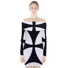 Bolnisi Cross Long Sleeve Off Shoulder Dress