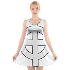 Celtic Cross  V-neck Sleeveless Skater Dress by abbeyz71
