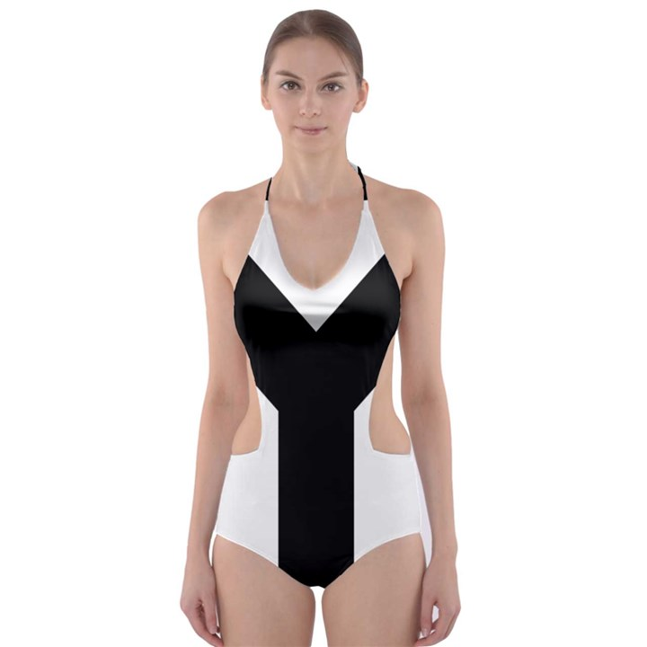 Forked Cross Cut-Out One Piece Swimsuit