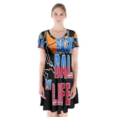 Basketball is my life Short Sleeve V-neck Flare Dress