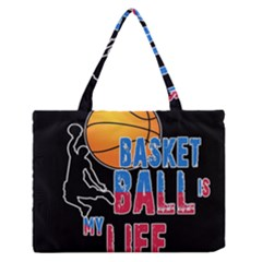 Basketball is my life Medium Zipper Tote Bag