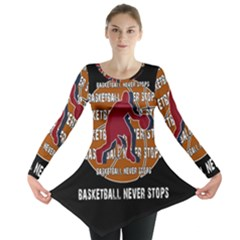 Basketball Never Stops Long Sleeve Tunic  by Valentinaart