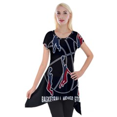 Basketball Never Stops Short Sleeve Side Drop Tunic by Valentinaart