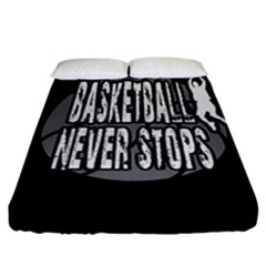 Basketball Never Stops Fitted Sheet (california King Size) by Valentinaart