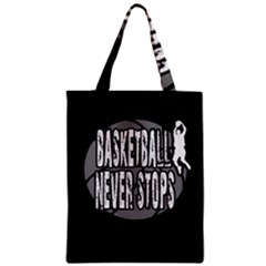 Basketball Never Stops Zipper Classic Tote Bag by Valentinaart
