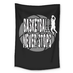 Basketball Never Stops Large Tapestry