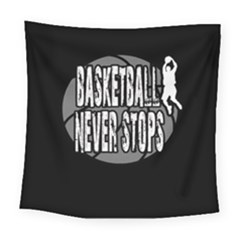 Basketball Never Stops Square Tapestry (large) by Valentinaart