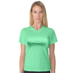 Decorative Lines Pattern Women s V Neck Sport Mesh Tee