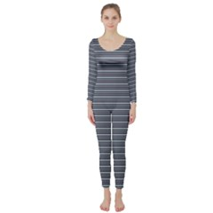 Decorative Lines Pattern Long Sleeve Catsuit