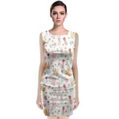 Kittens And Birds And Floral  Patterns Classic Sleeveless Midi Dress