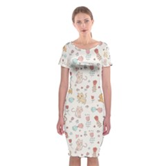 Kittens And Birds And Floral  Patterns Classic Short Sleeve Midi Dress