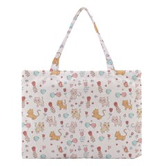 Kittens And Birds And Floral  Patterns Medium Tote Bag by TastefulDesigns