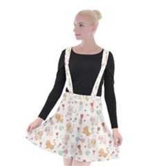 Kittens And Birds And Floral  Patterns Suspender Skater Skirt by TastefulDesigns