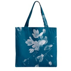 Autumn Crocus Blue Zipper Grocery Tote Bag by DeneWestUK