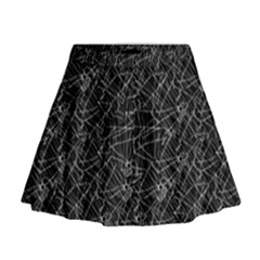 Linear Abstract Black And White Mini Flare Skirt by dflcprintsclothing