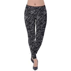 Linear Abstract Black And White Velvet Leggings