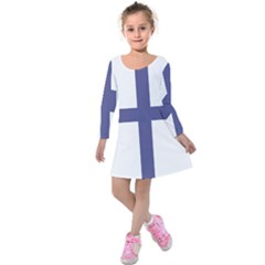 Greek Cross  Kids  Long Sleeve Velvet Dress by abbeyz71