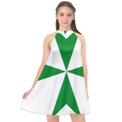 Cross Of Saint Lazarus  Halter Neckline Chiffon Dress