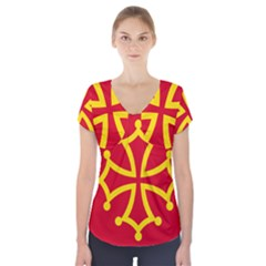 Flag Of Occitaniah Short Sleeve Front Detail Top by abbeyz71