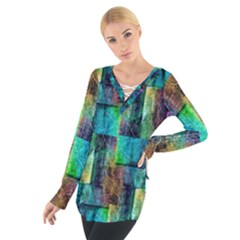 Abstract Square Wall Women s Tie Up Tee by Costasonlineshop