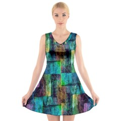 Abstract Square Wall V Neck Sleeveless Skater Dress by Costasonlineshop