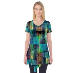 Abstract Square Wall Short Sleeve Tunic  by Costasonlineshop