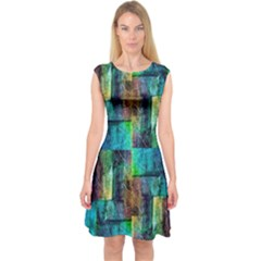 Abstract Square Wall Capsleeve Midi Dress by Costasonlineshop