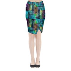 Abstract Square Wall Midi Wrap Pencil Skirt by Costasonlineshop