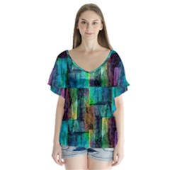 Abstract Square Wall Flutter Sleeve Top by Costasonlineshop