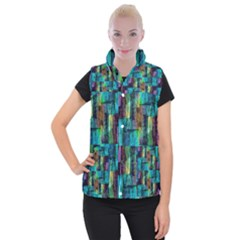 Abstract Square Wall Women s Button Up Puffer Vest by Costasonlineshop