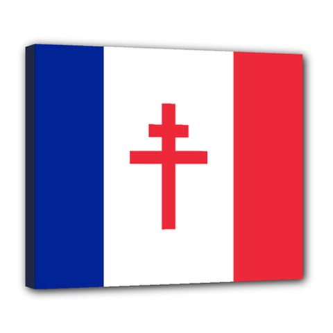 Flag Of Free France (1940 1944) Deluxe Canvas 24  X 20   by abbeyz71