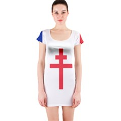 Flag Of Free France (1940 1944) Short Sleeve Bodycon Dress by abbeyz71