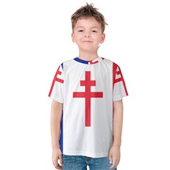 Flag Of Free France (1940 1944) Kids  Cotton Tee by abbeyz71